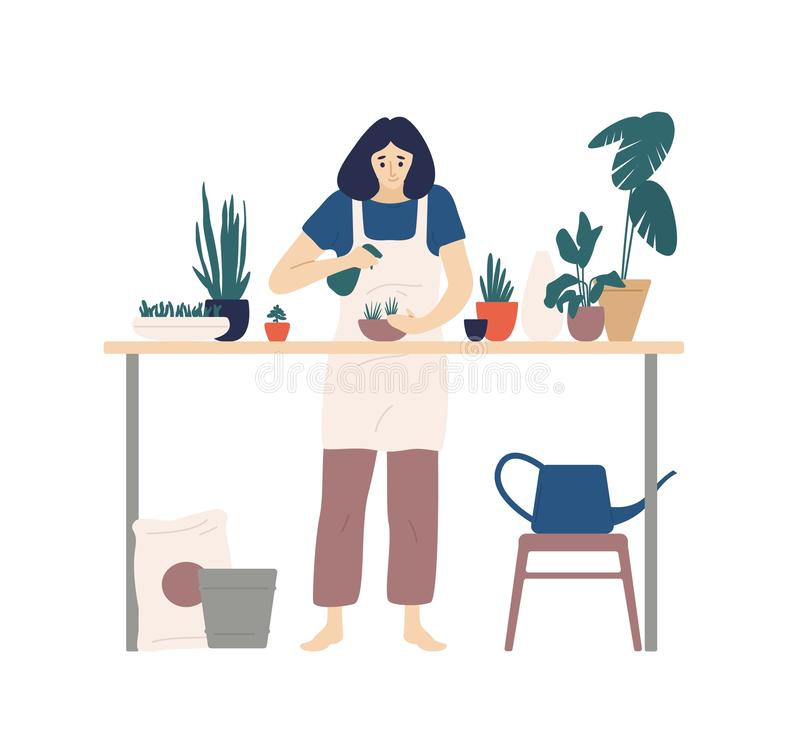 Cute young smiling woman or gardener taking care of home garden, spraying houseplants growing in planters. Portrait of vector illustration
