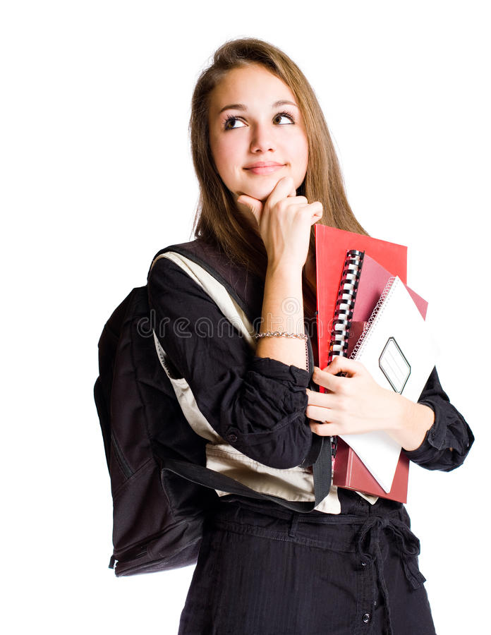 Cute young student girl pondering. royalty free stock photography
