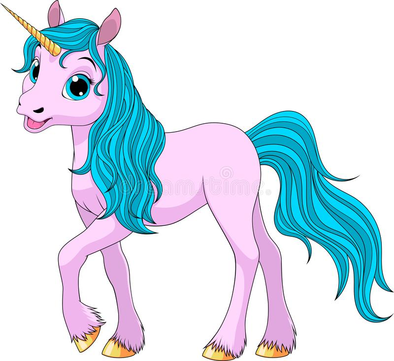 Cute young unicorn vector illustration