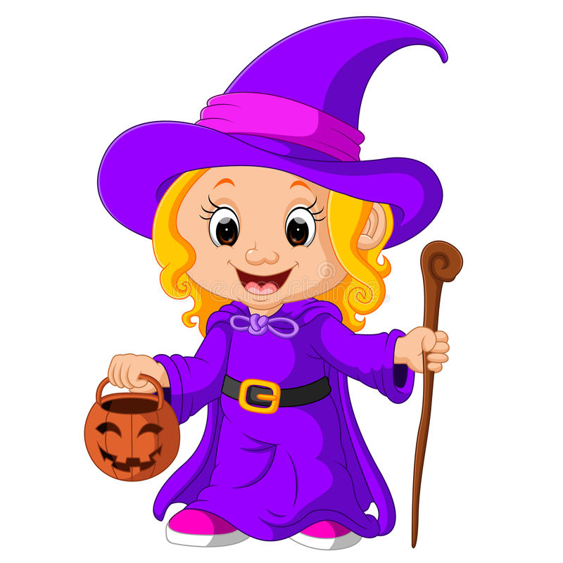 Cute young witch vector illustration