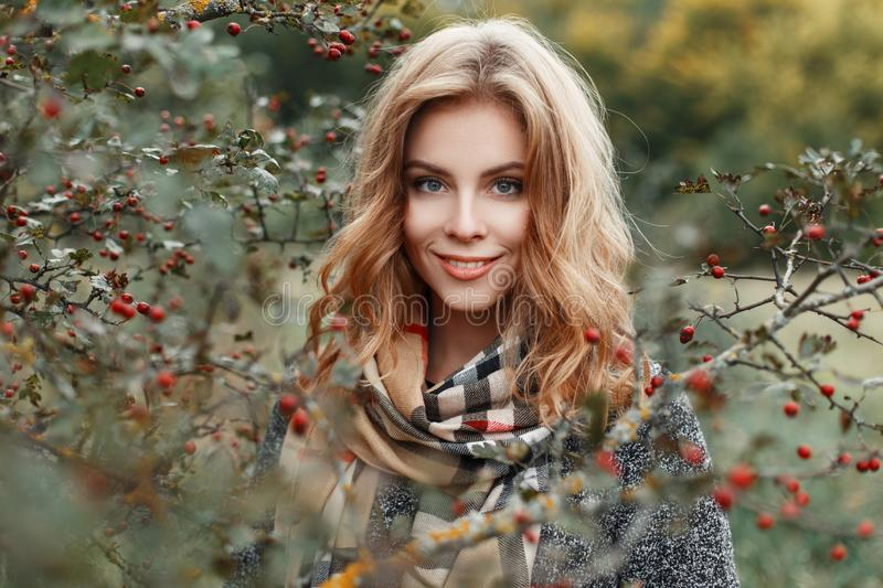 Cute young woman with blond hair with blue eyes with a beautiful smile in a stylish warm coat in a vintage checkered scarf royalty free stock photo