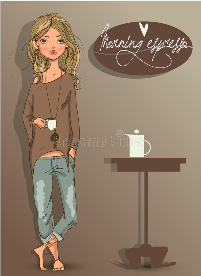 Cute young woman vector illustration