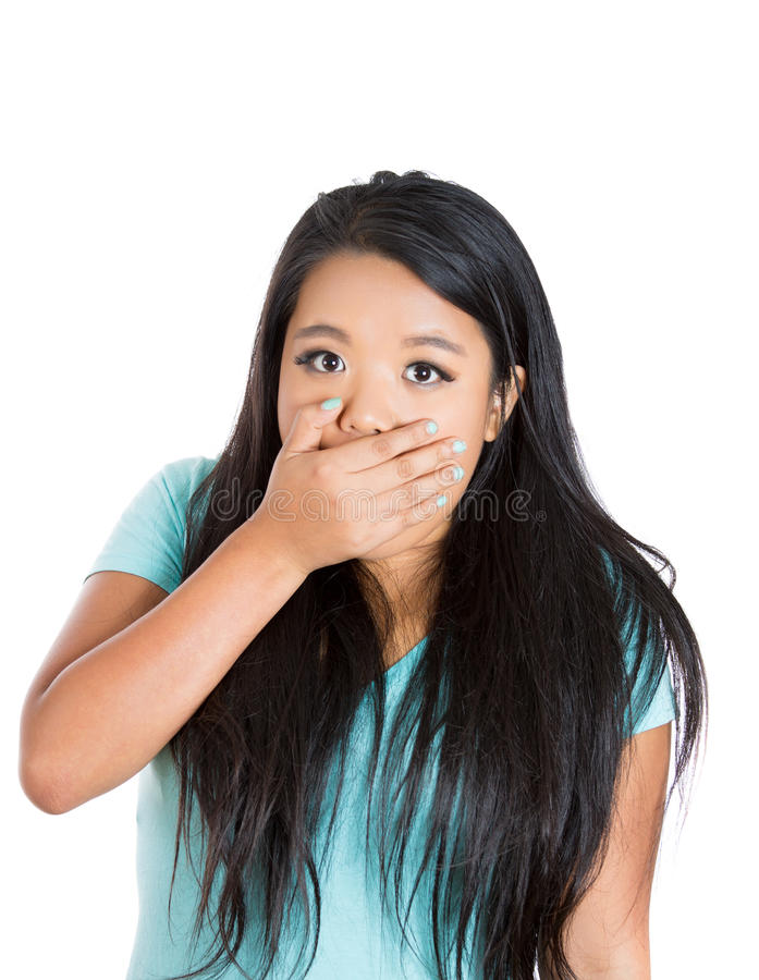 Download Cute Young Woman Covering Mouth Shocked And Surprised Stock Photo - Image: 33888354