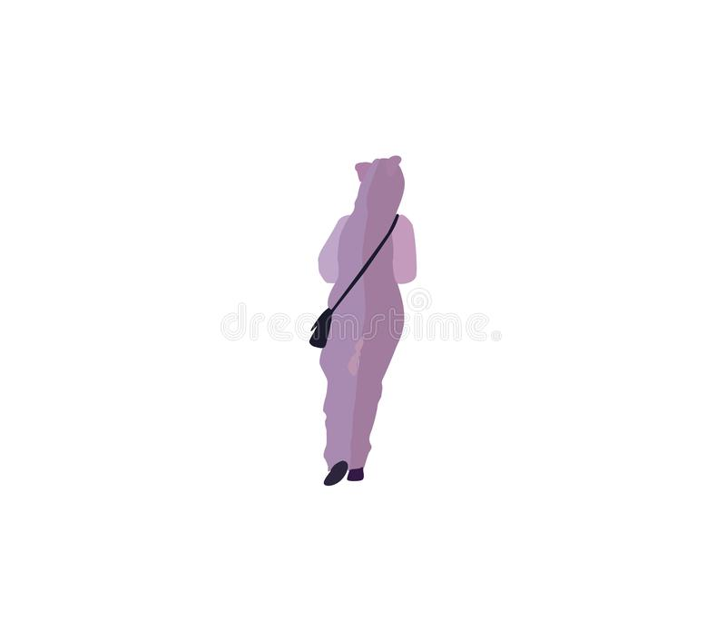 Cute young woman in fluffy violet pajamas or cat costume walks from the back stock photo