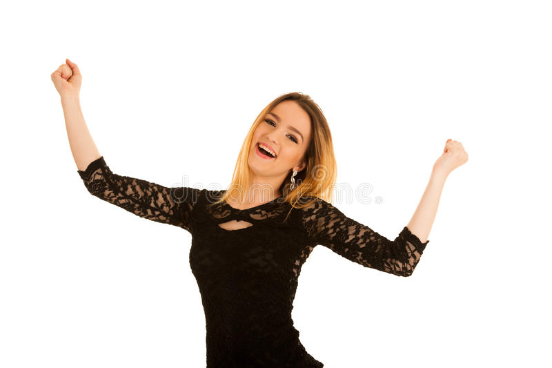 Cute young woman gesturing victory with hands up isolated over w royalty free stock images