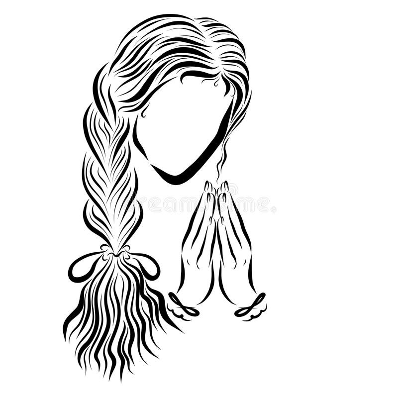 Cute young woman with long hair humbly praying to God stock illustration