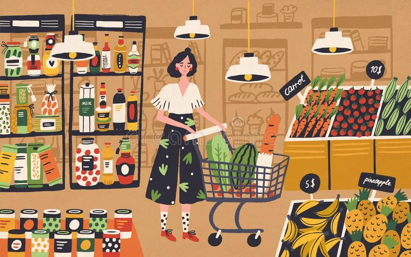 Cute young woman with shopping cart choosing and buying products at grocery store. Girl purchasing food at supermarket royalty free illustration