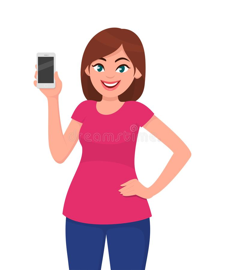 Cute young woman showing smartphone. Girl holding a mobile or cell phone in hand and holding hand on hip. Vector illustration. vector illustration