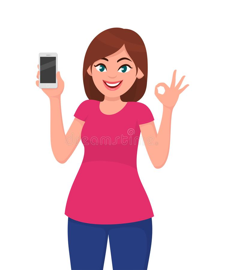 Cute young woman showing smartphone and OKAY/ OK sign. Technology and communication gadget concept illustration in vector cartoon. royalty free illustration