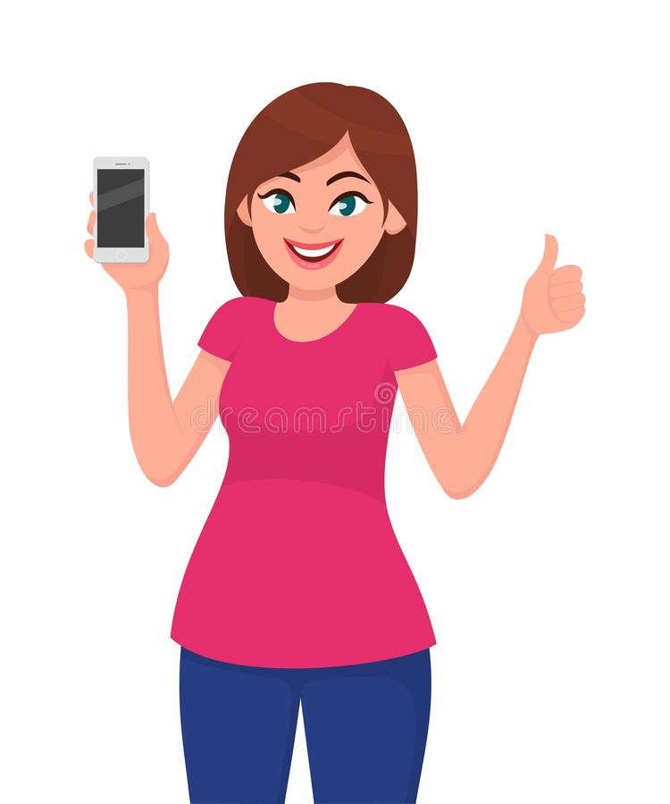 Attractive young woman showing smartphone and thumbs up sign stock illustration