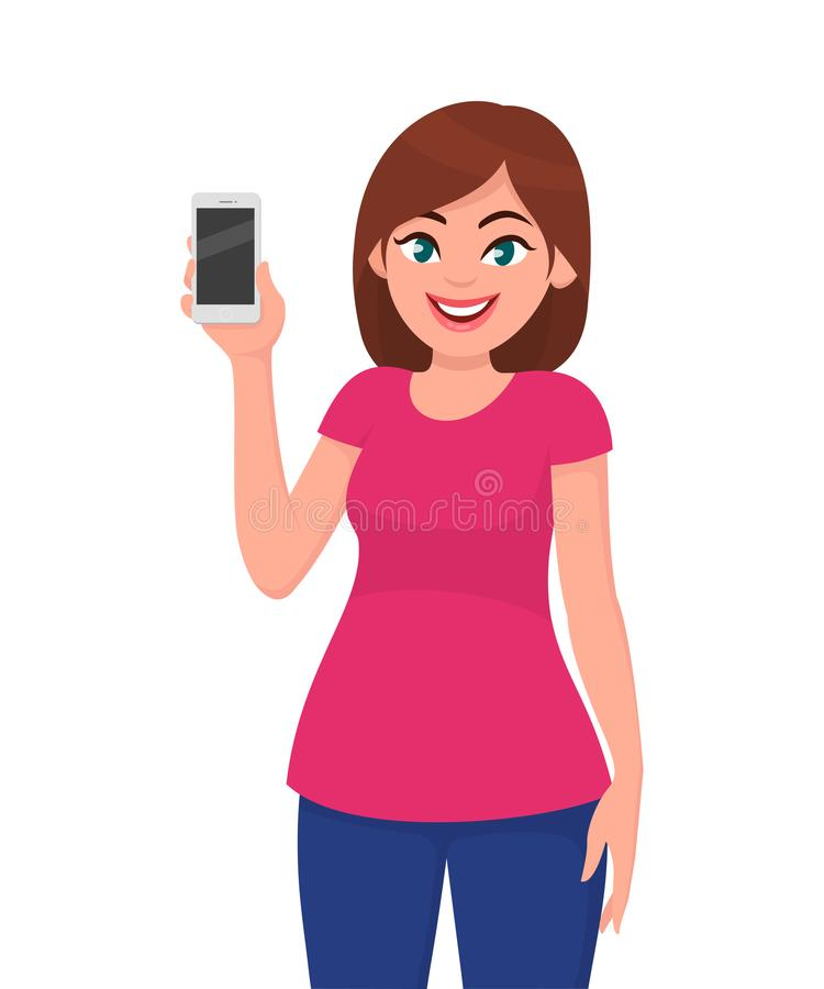 Beautiful young woman showing smartphone. Human emotion and body language concept illustration in vector. royalty free illustration