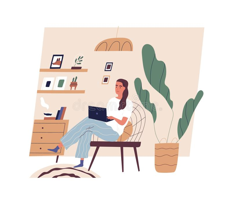 Cute young woman sitting on comfy chair with laptop computer in cozy room. Funny adorable girl working at home. Daily royalty free illustration