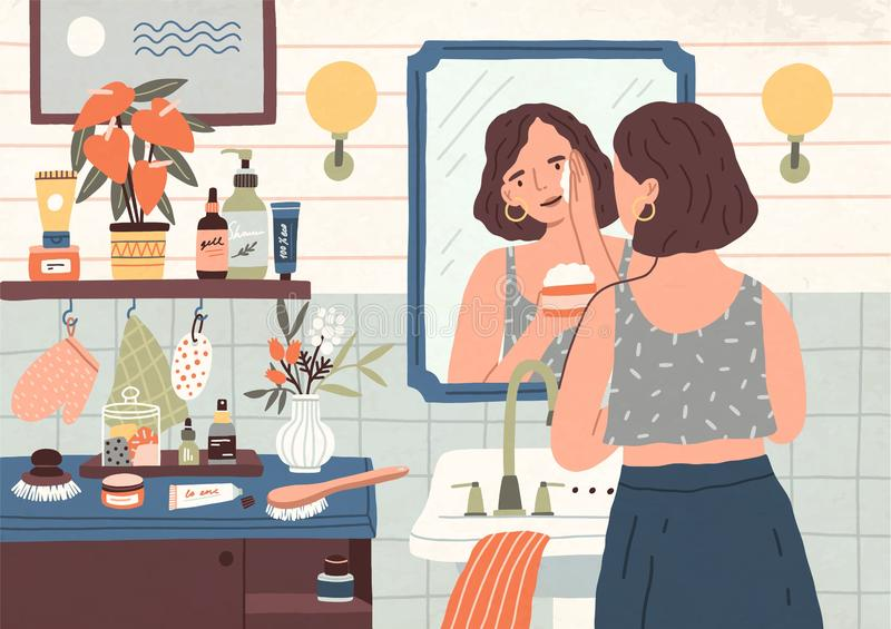 Cute young woman standing in front of mirror and cleansing or moisturizing her skin. Everyday personal care, skincare. Daily routine, hygienic procedure. Flat stock illustration