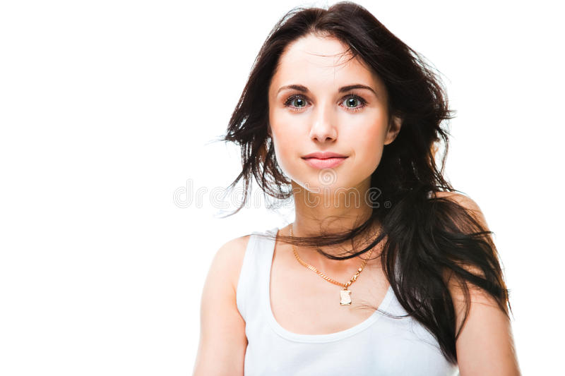Cute young woman on white