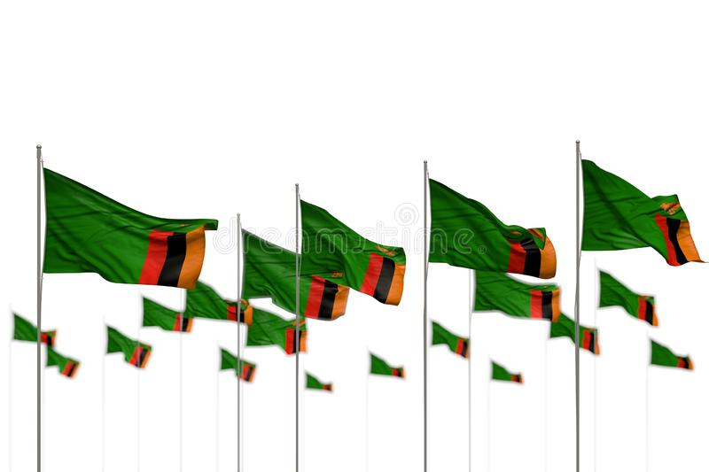 Cute Zambia isolated flags placed in row with selective focus and place for your content - any celebration flag 3d illustration. Beautiful feast flag 3d royalty free illustration