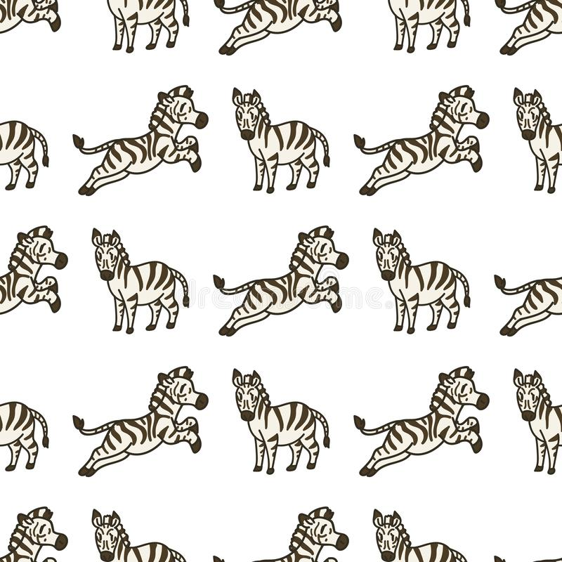 Cute Zebra Cartoon Seamless Vector Pattern Hand Drawn African Savannah Animal Tile All over Print for Wildlife Blog, Safari, vektor illustrationer