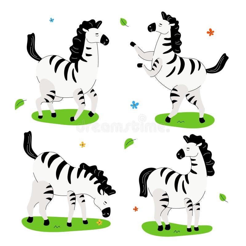 Cute zebra - flat design style set of cartoon characters vector illustration