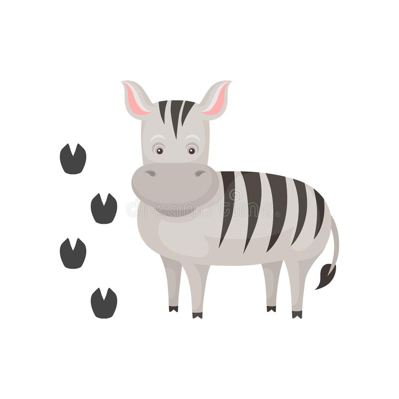 Cute zebra and her footprints. Cartoon character of wild African animal with black-and-white stripes. Zoo theme stock illustration