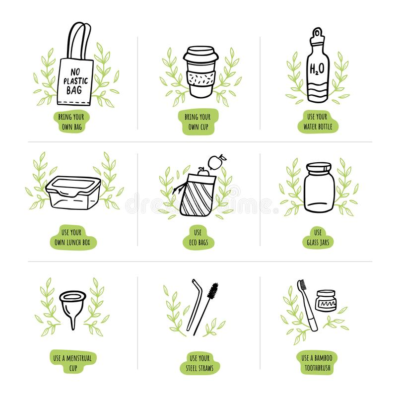 Cute zero waste elements with text. Eco-friendly bag, cup, toothbrush, bottle, lunch box and other things in doodle style. Hand-drawn vector illustration. Go stock illustration