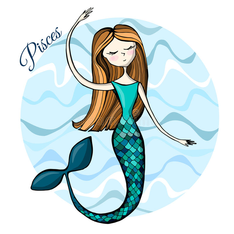 Cute zodiac sign Pisces royalty free illustration