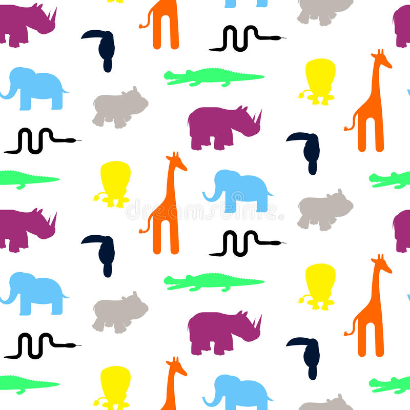 Cute zoo animal silhouettes toddler seamless pattern vector. Colorful giraffe, lion, rhino, crocodile, toucan and elephant on white background stock illustration