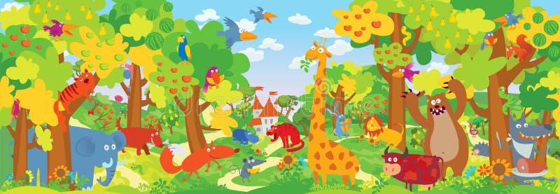 Cute zoo animals royalty free illustration