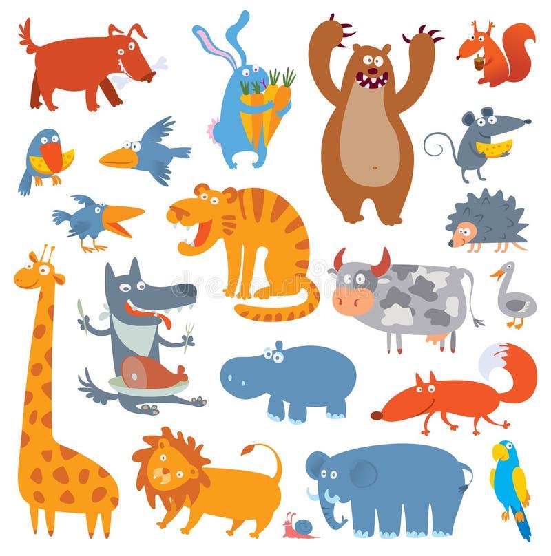 Cute zoo animals stock illustration