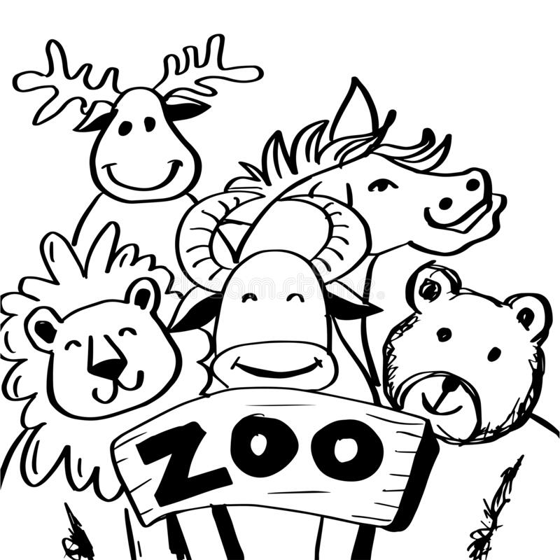 Cute Zoo Animals Vector Illustration Line Art Hand Drawing Stock Vector Illustration Of Lion Graphic 203755049