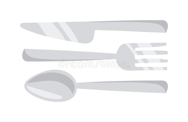 A cutelaria ajustou-se com ilustração lisa do vetor da pratas do restaurante da tabela da forquilha, da faca e da colher ilustração royalty free