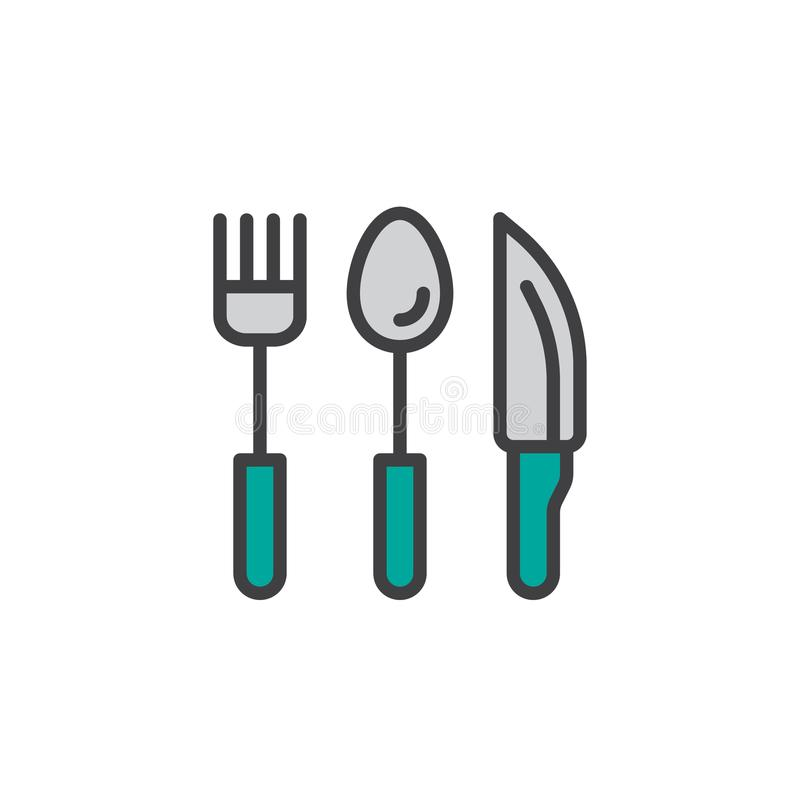 A cutelaria, a colher da forquilha e a faca encheram o ícone do esboço ilustração do vetor