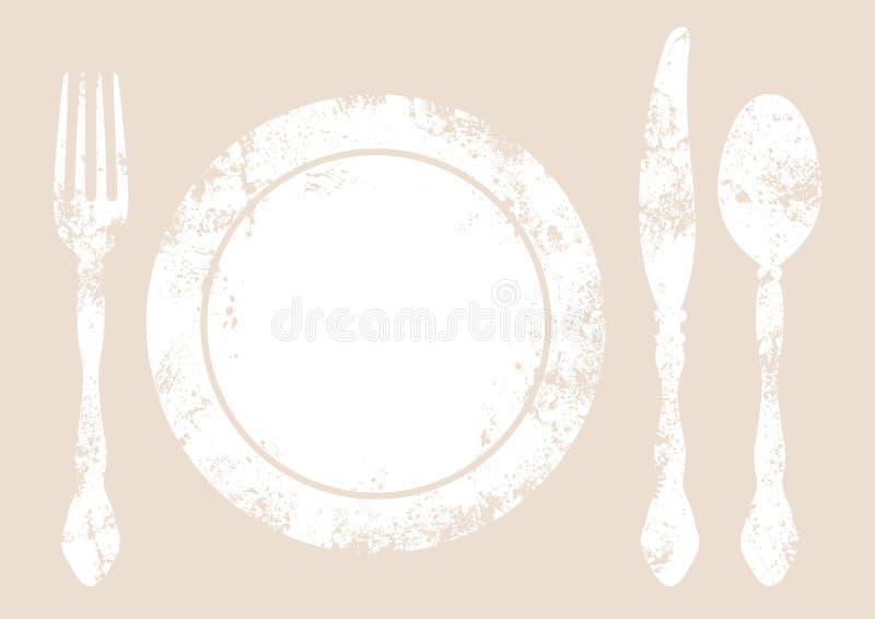 Cutelaria com o fundo da placa branco e bege ilustração royalty free