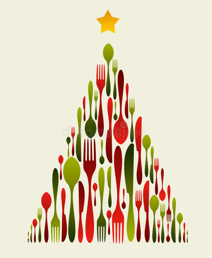 Cutelaria da árvore de Natal ilustração do vetor
