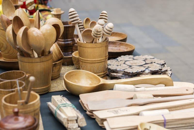 Cutelaria da madeira imagens de stock royalty free