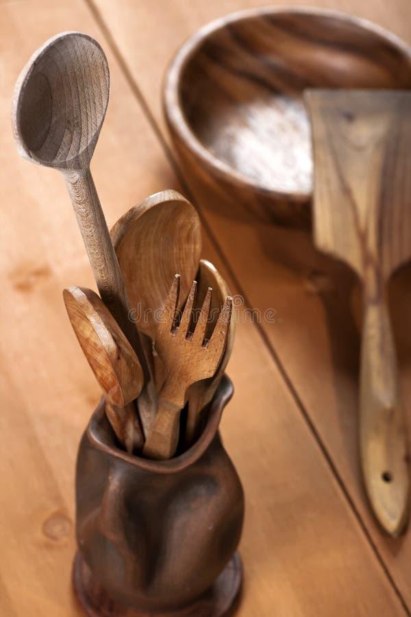Cutelaria de madeira foto de stock royalty free