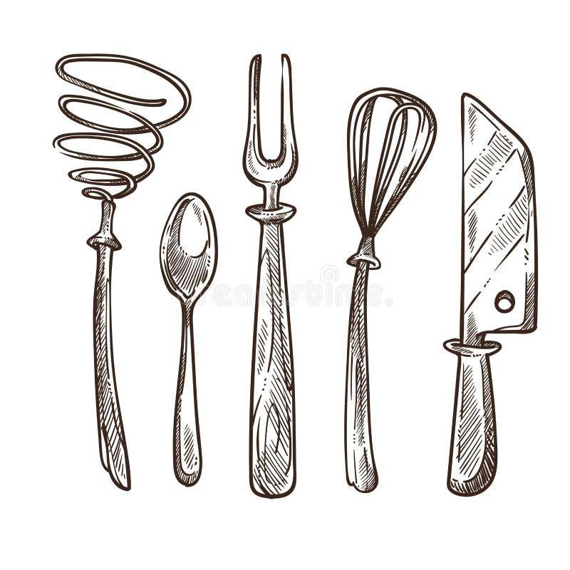 A cutelaria e os utensílios usaram-se ao cozinhar o almoço ou o café da manhã ilustração do vetor