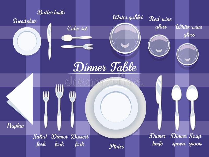 Cutelaria na mesa de jantar ilustração stock