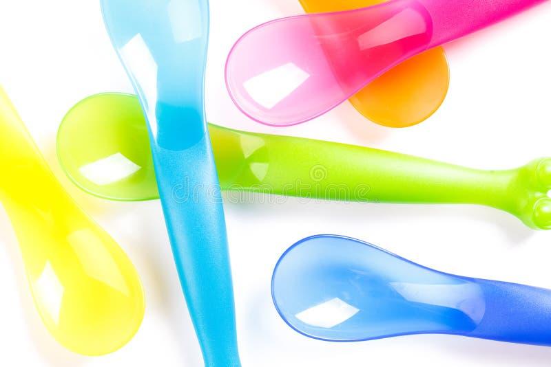 Cutelaria plástica colorida foto de stock royalty free