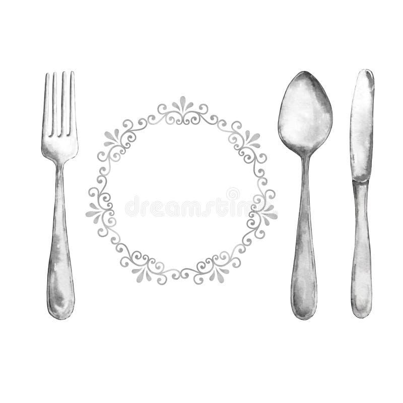 Cutelaria, prata, colher, forquilha e faca da aquarela, com um quadro encaracolado ilustração do vetor
