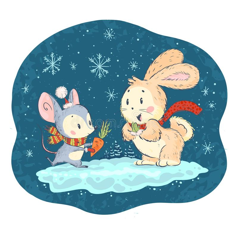 Cuter vector illustration with cute little mouse and bunny characters on snowy winter background celebrating. vector illustration