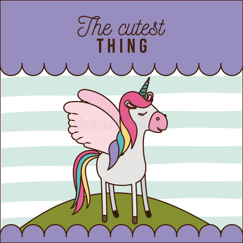 The cutest thing poster of unicorn over hill and lines colorful background. Vector illustration royalty free illustration