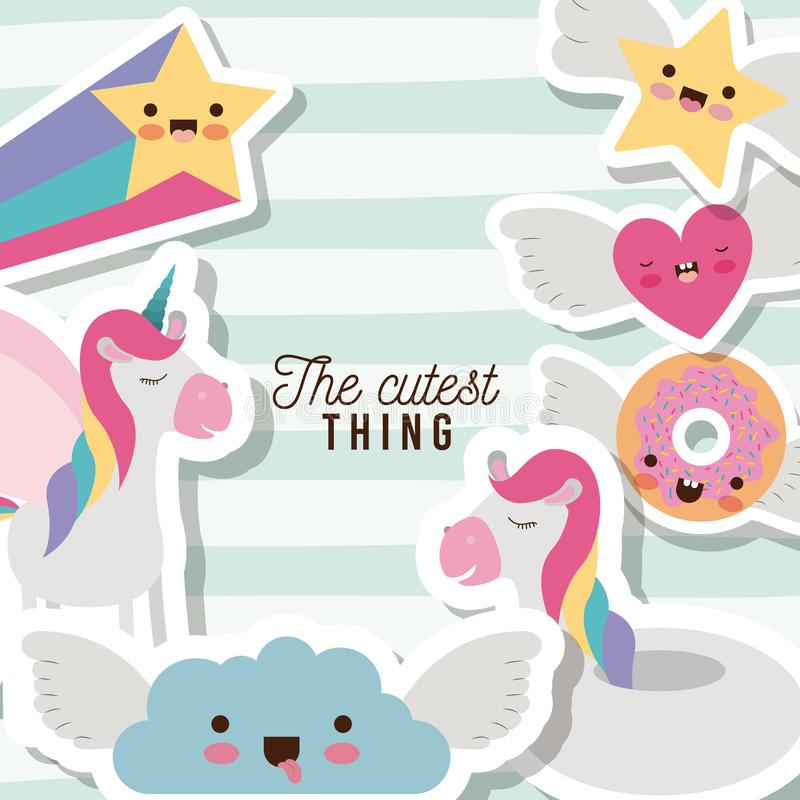 The cutest thing poster with unicorns rainbows stars cloud heart and donut with wings and colorful lines background stock illustration