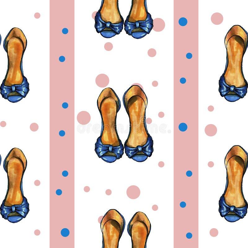 Cutewhitepatroon met roze & blauwe punten, geschilderde schoenen vector illustratie