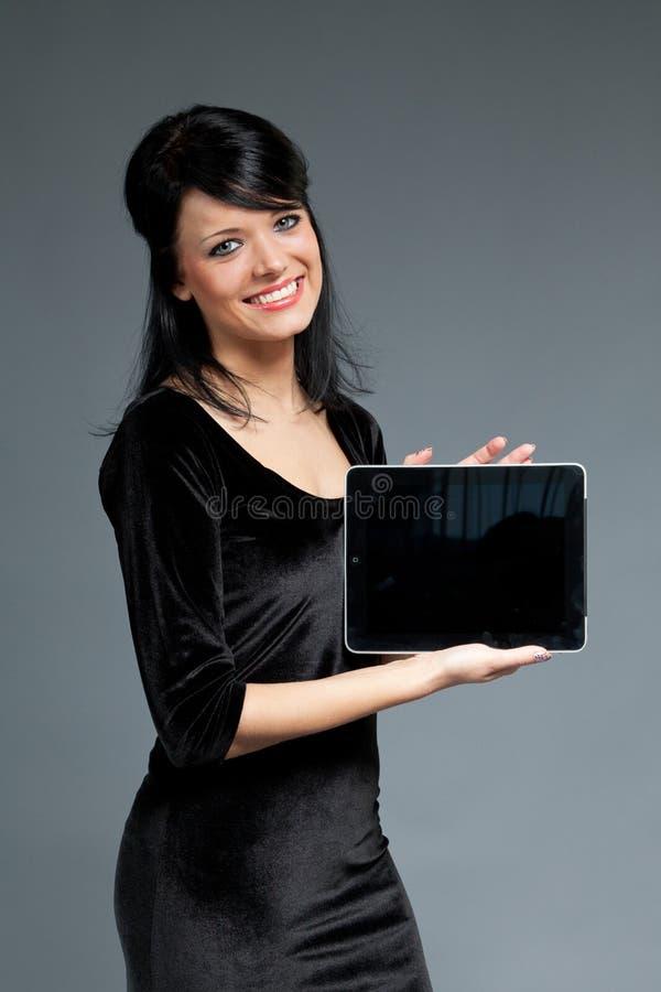 cutie空的愉快的填充屏幕微笑的接触 库存图片