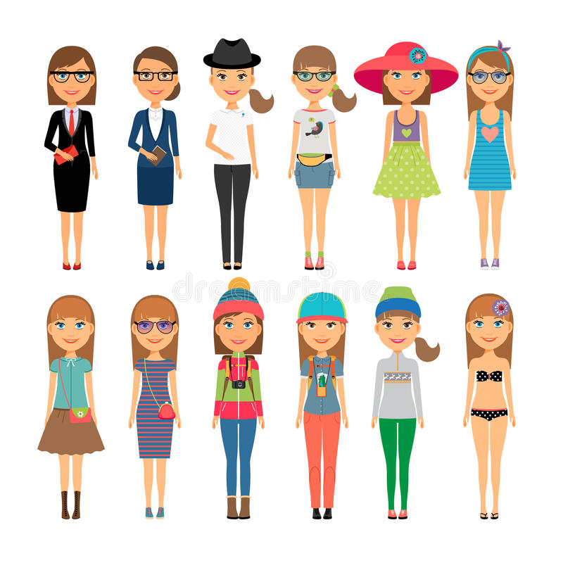 Cutie cartoon fashion girls in colorful clothes royalty free illustration