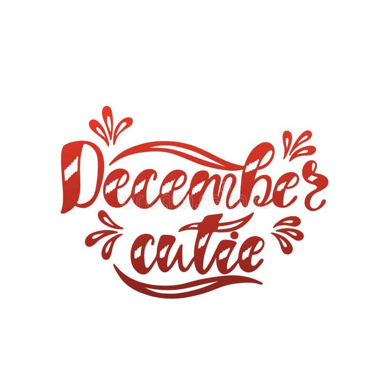 Cutie de dezembro Texto tirado mão da caligrafia Projeto da tipografia do feriado Papai Noel em um sledge ilustração royalty free