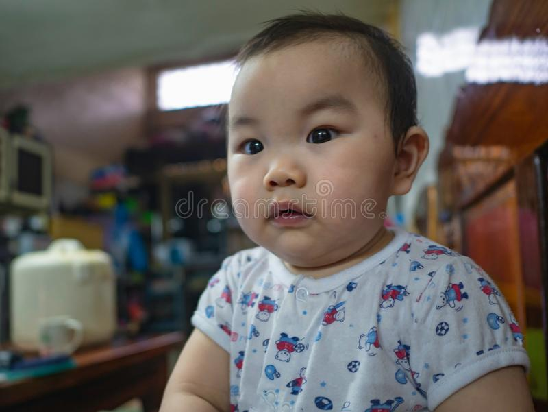 Cutie e menino asiático gordo fotografia de stock royalty free