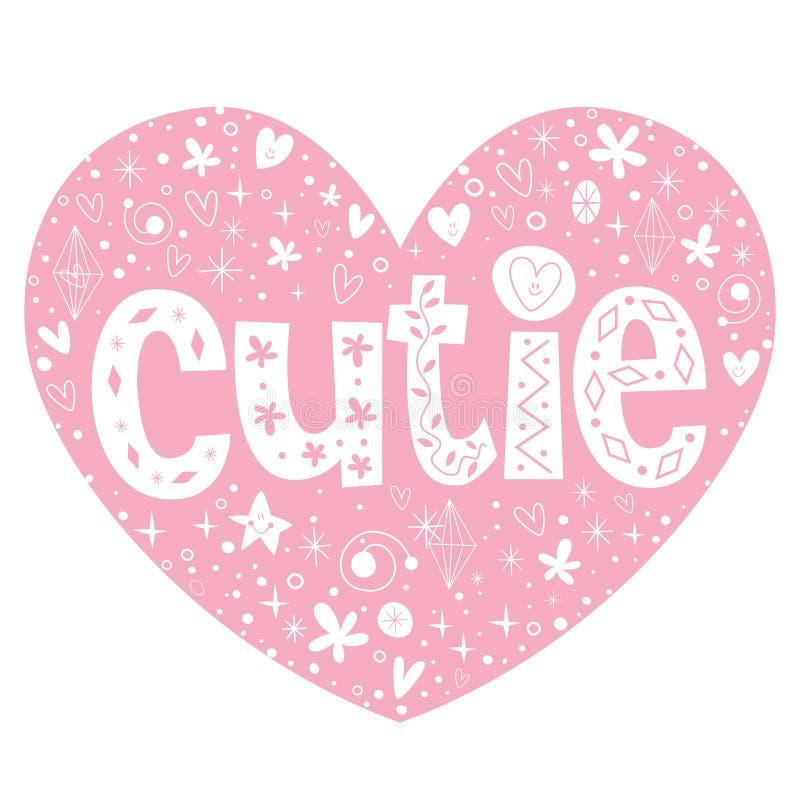 Cutie hart gestalte gegeven het van letters voorzien ontwerp vector illustratie