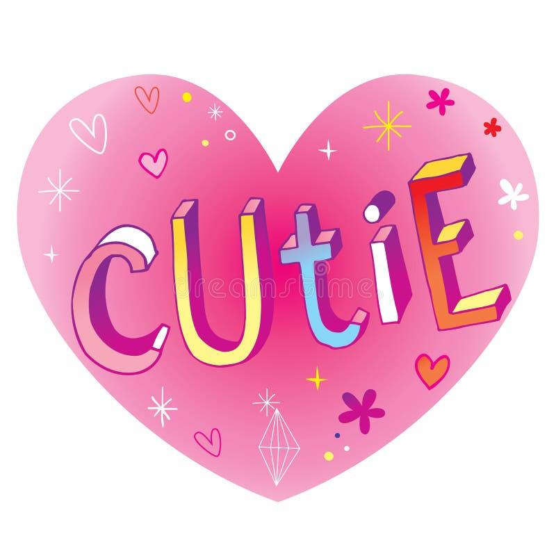 Cutie - hart gestalte gegeven ontwerp vector illustratie