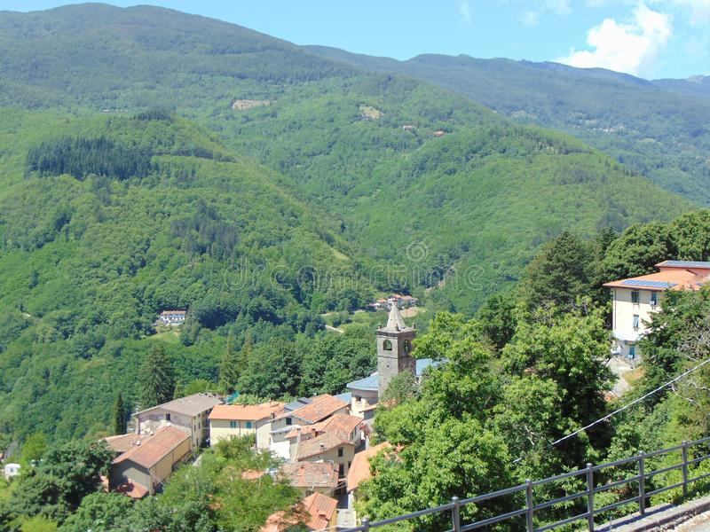 Cutigliano, Tuscany, Italy, top view of  the town, panorama, houses in the mountains. royalty free stock photography