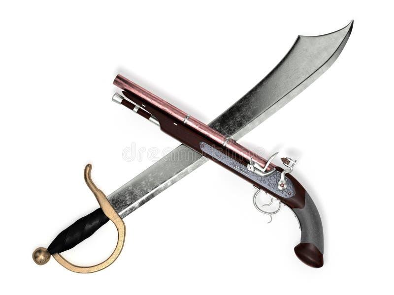 Cutlass с пистолетом кремнёвого замка стоковая фотография